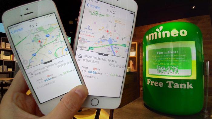 11時前のmineo渋谷のリアルマイネ王で速度測定