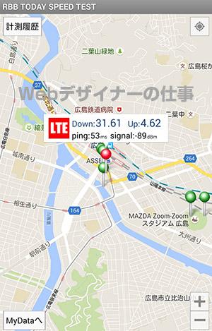 JR広島駅前で通信速度を測定