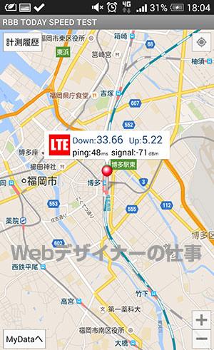 JR博多駅新幹線ホームで測定