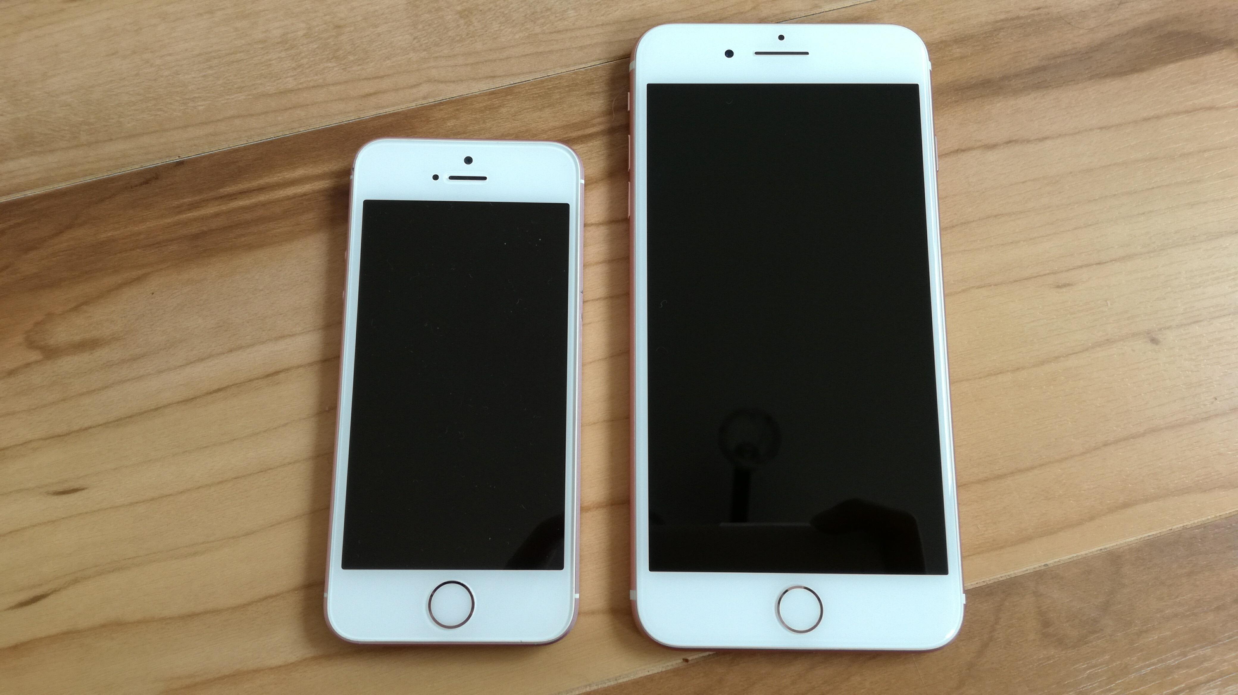 4インチのiPhoneSEと5.5インチのiPhone7 Plus