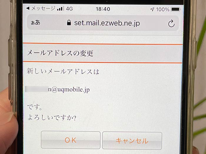 希望するメールアドレスの確認画面