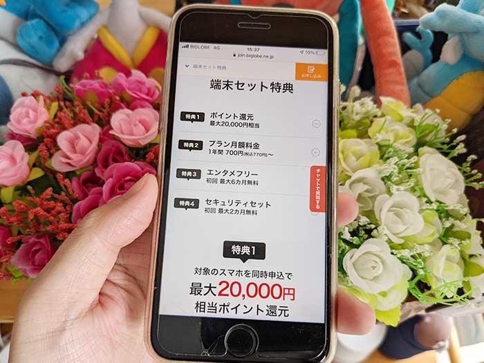 20,000円分のポイント還元