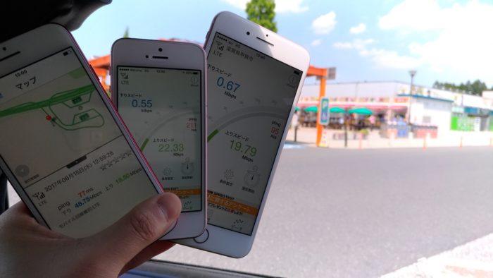 新名神高速道路「土山SA(上り)」にて通信速度を計測