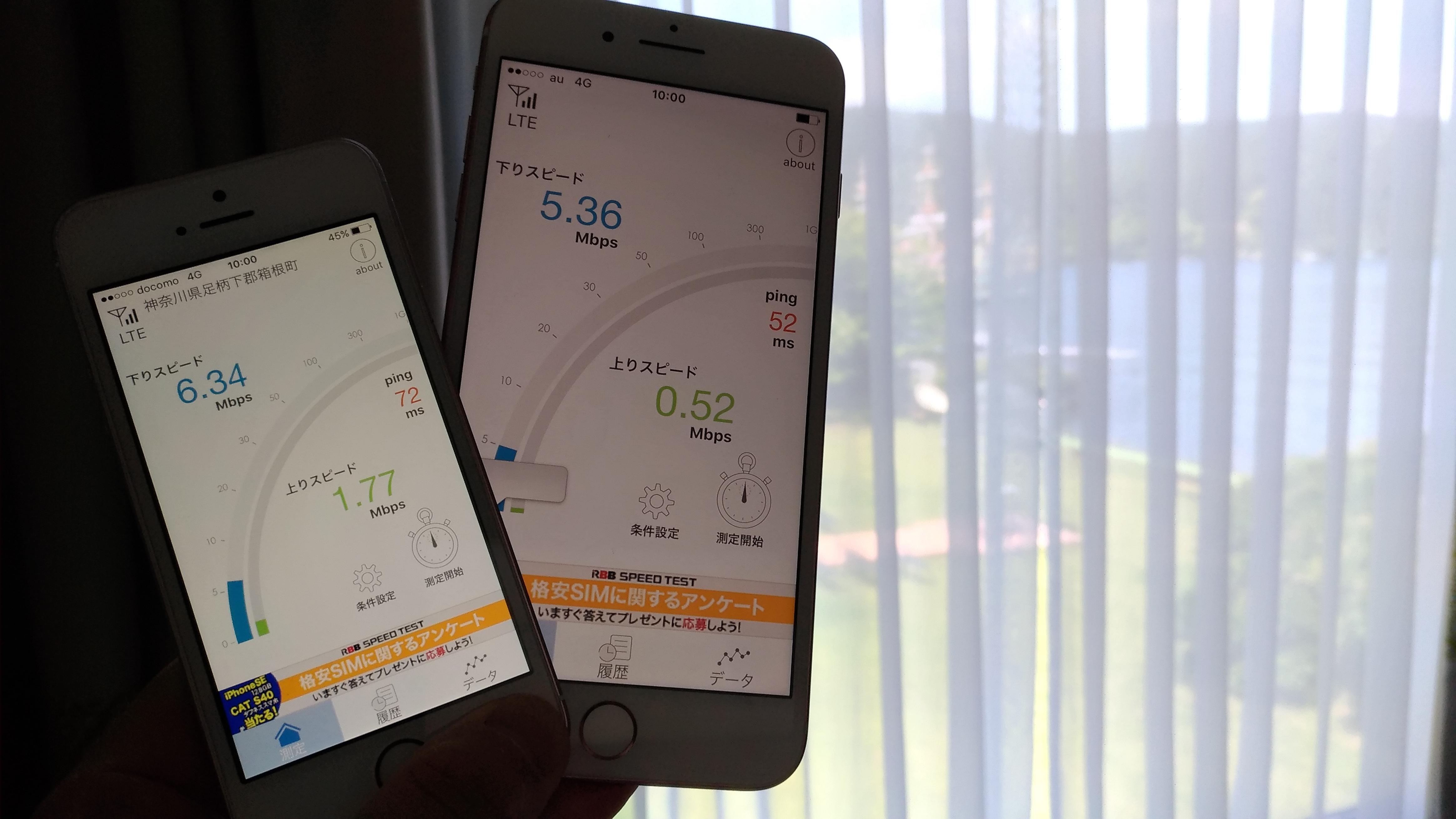 箱根の某ホテルにて通信速度を計測