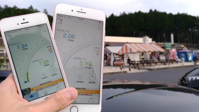 中央自動車道「駒が丘SA(下り)」にて通信速度を計測