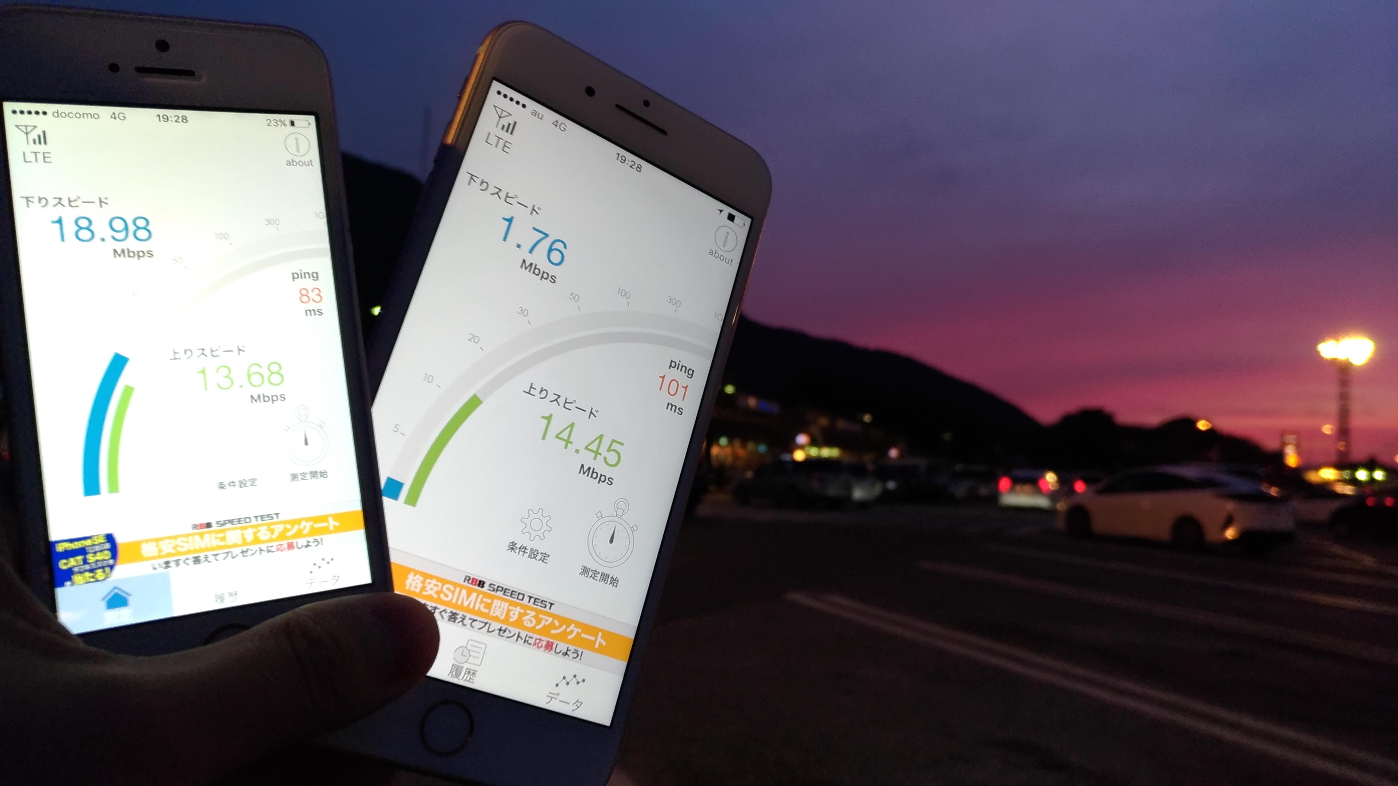 名神高速道路「養老SA(下り)」にて通信速度を計測