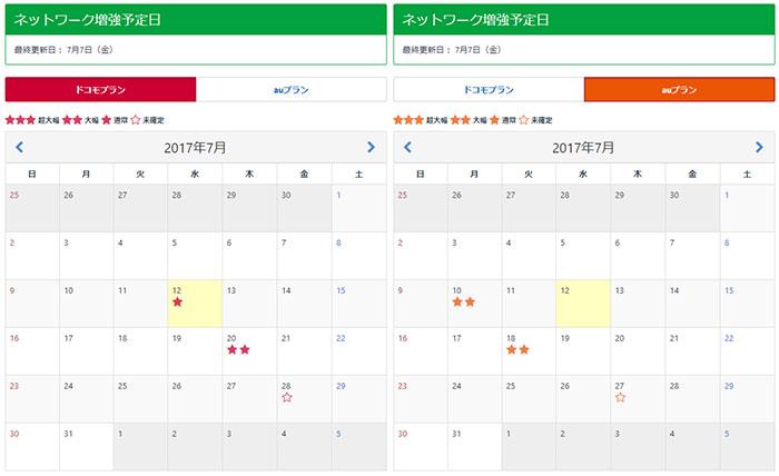 mineo - ネットワーク増強予定日