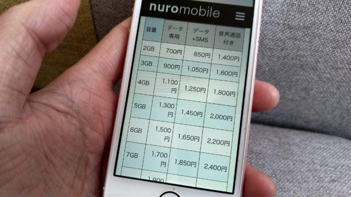 nuroモバイルの料金・時間プラン