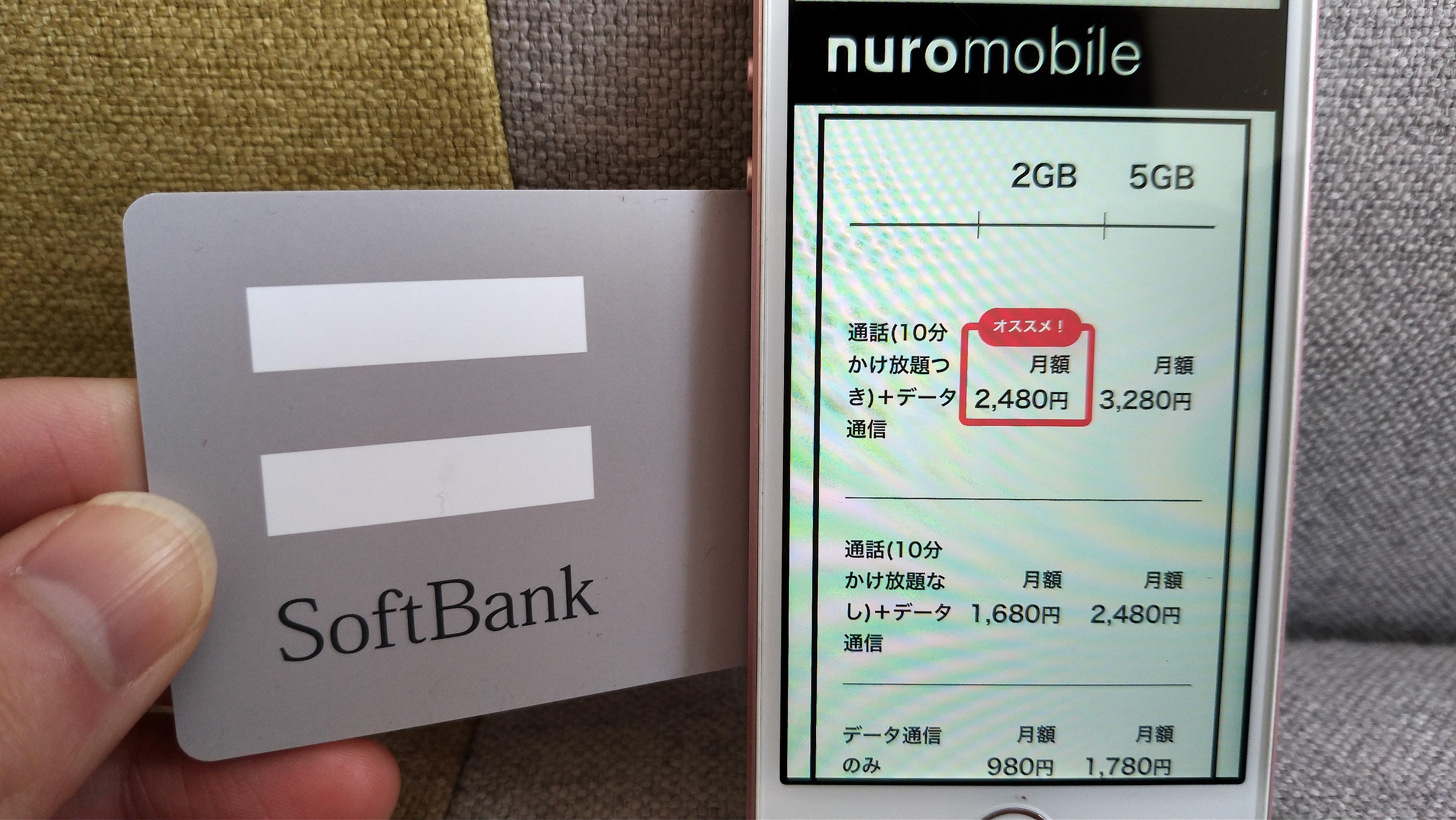 ソフトバンク回線SIM料金