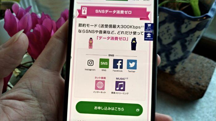 UQモバイル カウントフリー(通信容量消費無し)