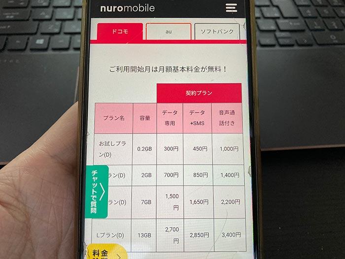 ドコモ回線SIM料金
