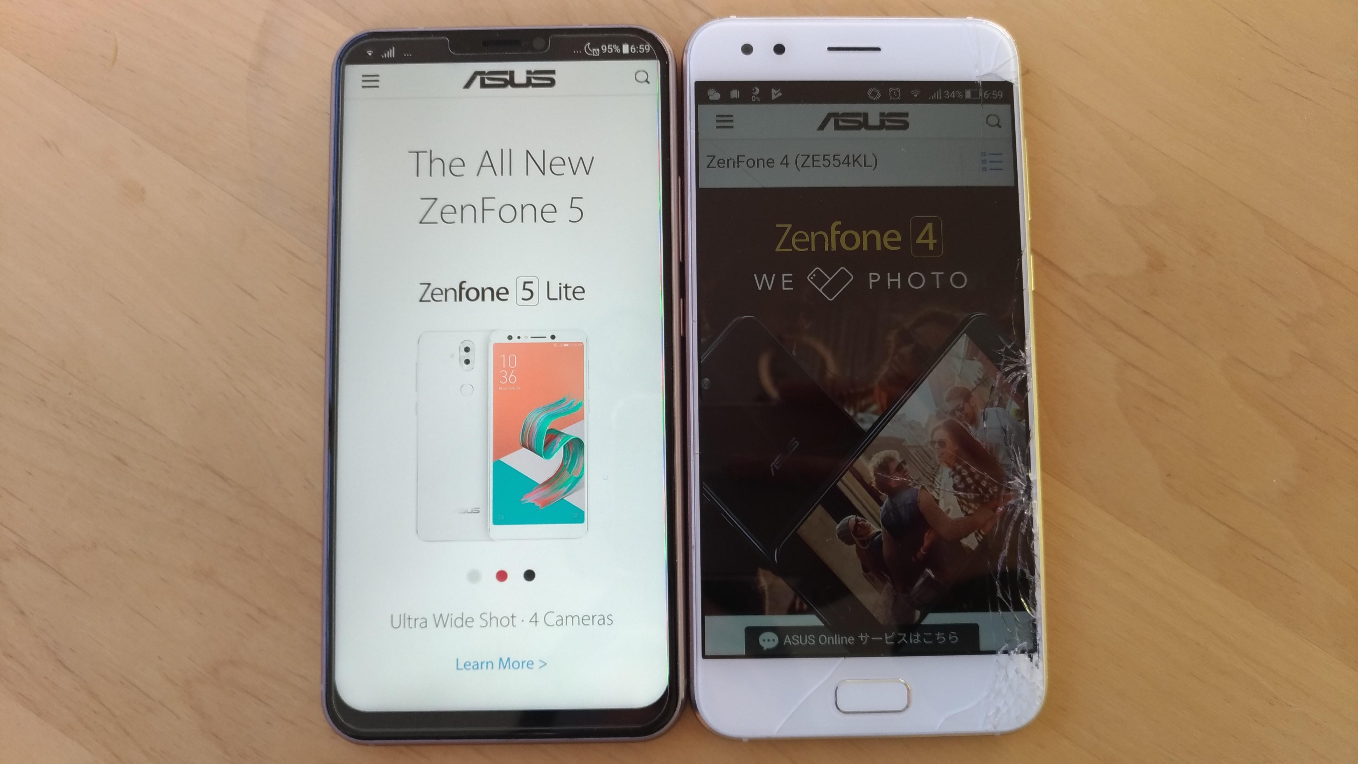 ZenFone5(左)とZenFone4(右)
