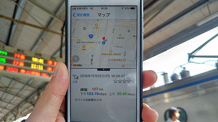 朝の台南駅で速度測定