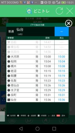 各列車の詳細な運行状況
