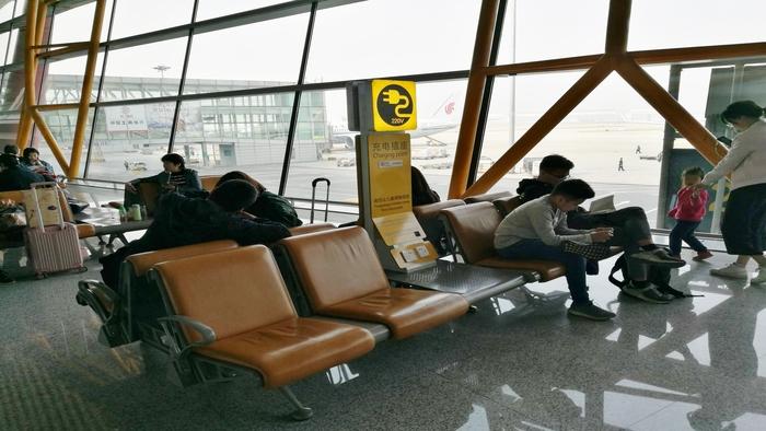 北京空港の搭乗ゲート付近