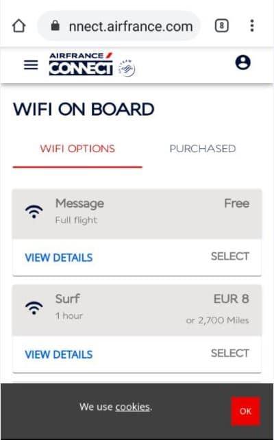 エールフランスの機内WiFi