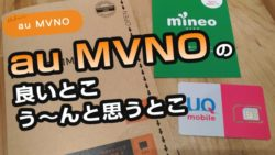 au MVNOの格安SIMの良いとこ・う~んと思うとこ