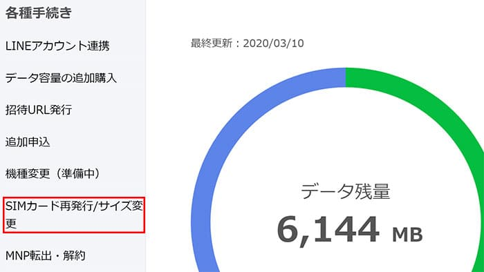 SIMカード再発行/サイズ変更