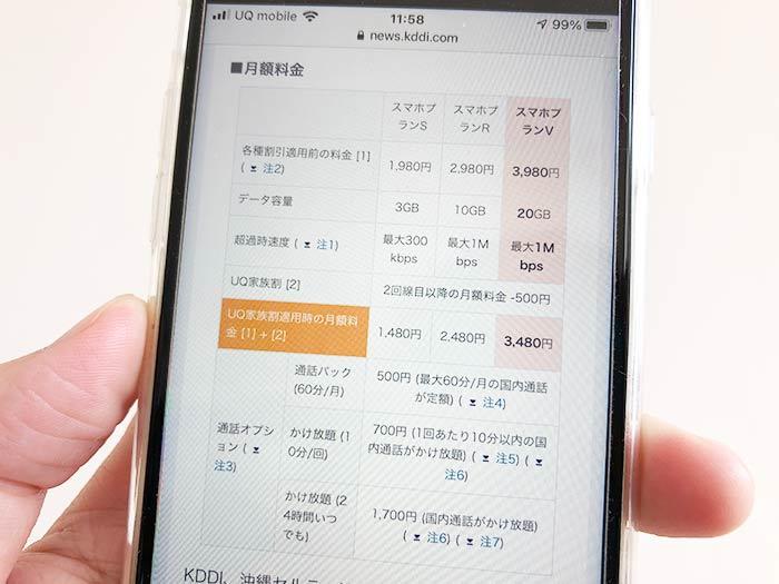 UQモバイルの20ギガプランについて。