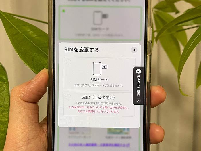 LINEMO SIMカードのタイプ