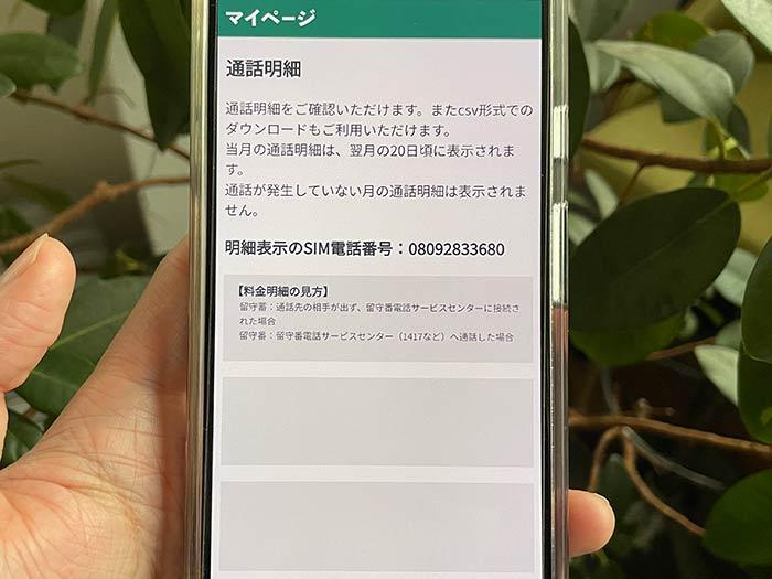 日本通信SIM 通話明細は?