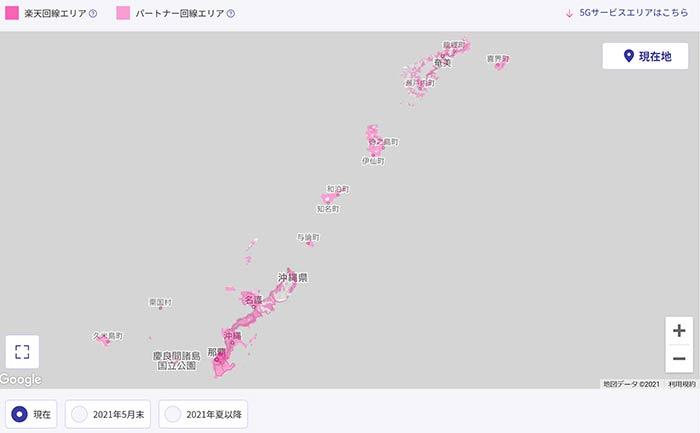 沖縄本島の楽天回線エリアの拡大状況 3月
