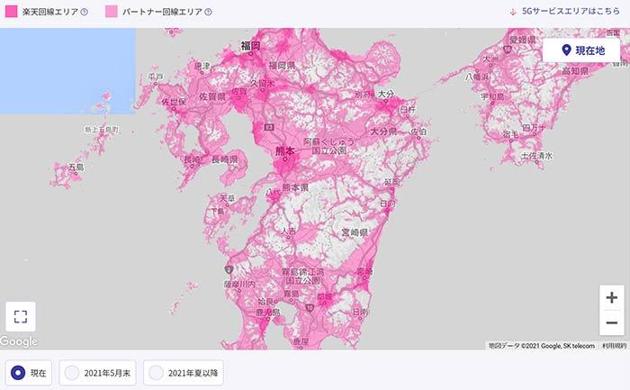 九州の楽天回線エリアの拡大状況 3月