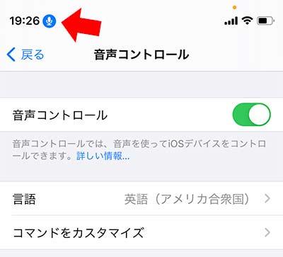 iPhone 音声コントロールがオン